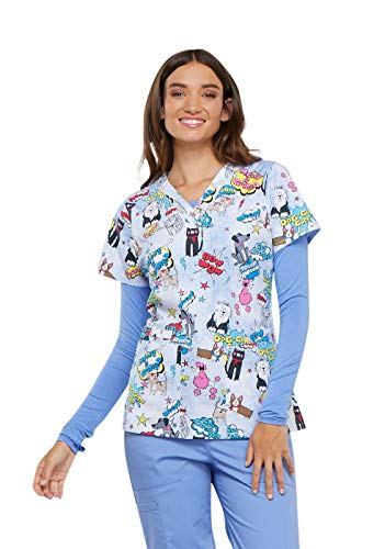 Cherokee Fashion Prints Women's V-Neck Dog Print Scrub Top X-Large Print ()