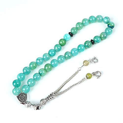 cnYIQIzh Natural Stone Turquoise Vein Crackle Agate Net Rosary for Prayer Rosary 33pcs 10 mm Bead Bracelet