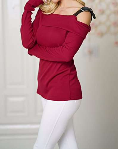 Epaule T Vin Nu Printemps Casual Blouse Hauts Shirts et Tee Jumpers Tops Pullover Pulls Rouge Mode Slim Longues Automne Femmes Manches Freestyle UxYd0RY