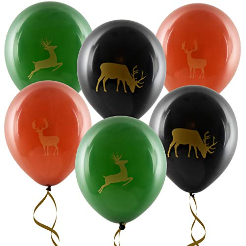 """36 Deer Balloons 12"""" Latex Buck Balloon Green & Brown Camo Balloon Camouflage Hunting For Kids Birthday Party Favor Supplies Decorations by Gift Boutique -"""