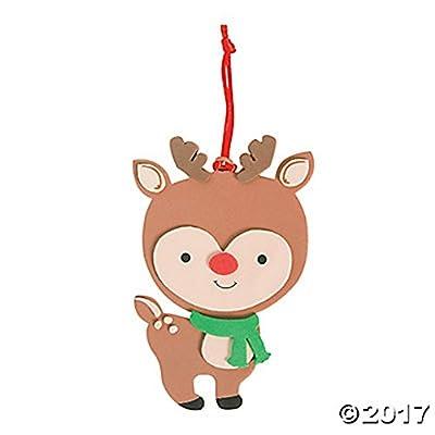 Set of 12 Cute Big Head Reindeer Ornaments Foam Craft Project Kit