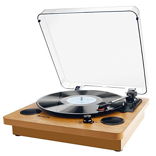 Vinyl Record Player, Popsky 3-Speed Turntable Bluetooth Record Player with Speaker, Portable LP Vinyl Player, Vinyl-to-MP3 Recording, 3.5mm AUX & RCA & Headphone Jack, Natural Wood