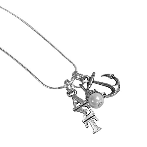 Alpha Sigma Tau Sorority Triple Charm Set Lavalier 18 Inches with Simulated Pearl and Mascot Charm Necklace (Sigma Tau Fraternity)