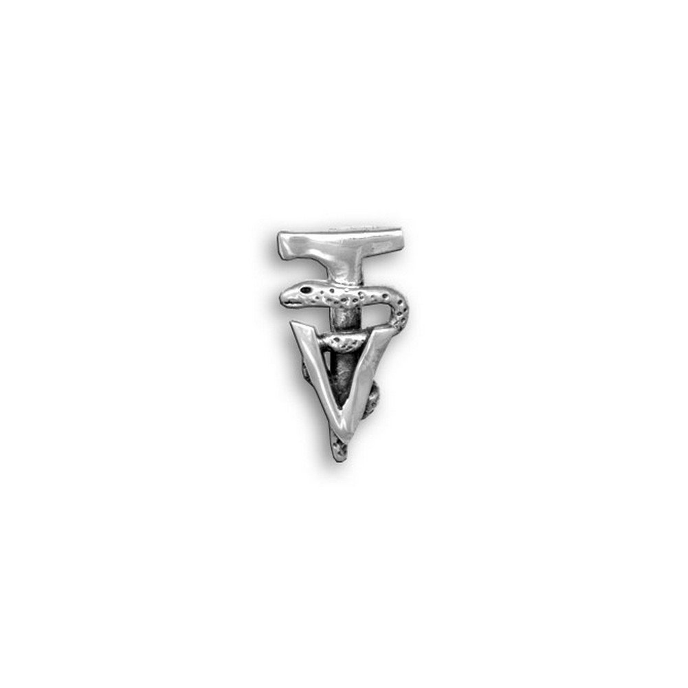Sterling Silver Veterinary Technician Caduceus Tie Tack by The Magic Zoo by The Magic Zoo (Image #1)