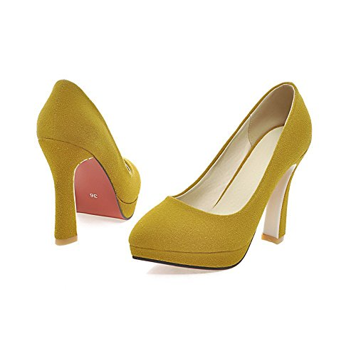 Lucksender Moda Para Mujer De Punta Estrecha Estilo Vintage Bombas De Tacón Alto Zapatos De Color Amarillo