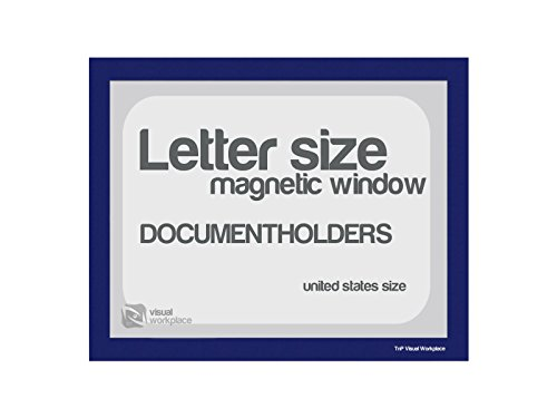 Magnetic Document Holder, Letter incl cut out, Blue, Pack of 5 by TnP Visual Workplace