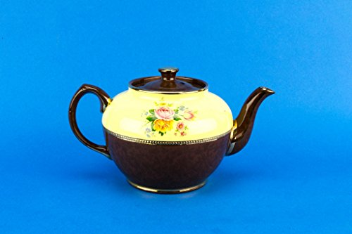 Pottery Globular Teapot Sadler Vintage English Mid 20th Century Medium Modern Gilded Floral Ceramic