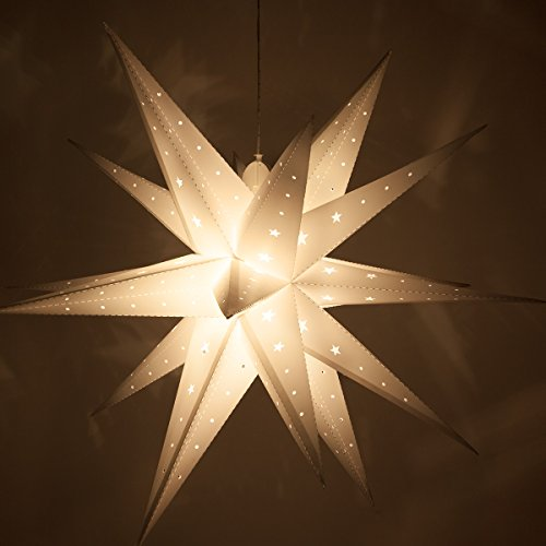 Fold-Flat Moravian Star – LED Star Light - Folding Star Craft / Decoration, Battery-Powered with Timer (24