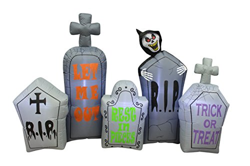 7 Foot Long Halloween Inflatable Tombstones Pathway Scene Haunted House Prop Grim Reaper LED Lights Decor Outdoor Indoor Holiday Decorations, Blow up Lighted Yard Decor, Lawn Inflatables Home Family