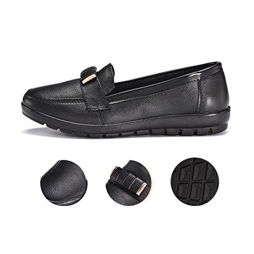 Giy Kvinna Business Casual Loafers Komfortlägenheter Slip-on Rund Tå Gå Klassiska Öre Dagdrivaren Skor Svart