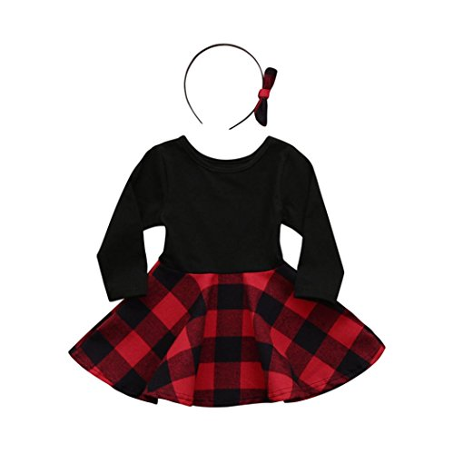 (Kehen 2pcs Spring Outfits Long Sleeve Plaid Mini Dress Tops+Bows Headband Sets for Toddler Baby Girls (Black, 12-18)