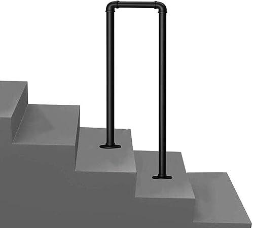 2 pasos barandilla de la escalera, barandilla de tubería negra de hierro vintage, barandilla auxiliar de seguridad antideslizante, porche del parque interior y exterior, barandilla de la escalera de: Amazon.es: Hogar