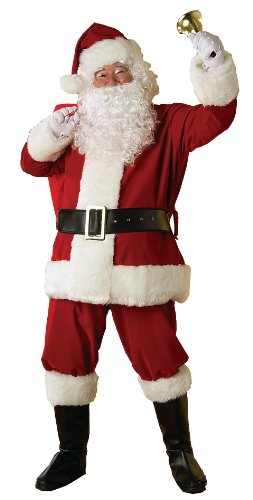 Rubie's Deluxe Regal Santa Claus Suit, Red, Standard - Deluxe Cotton Black Belt