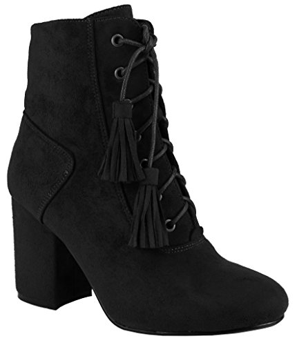 Women's Bootie Closed Imsu Black Lace up Tassel Nature Block Toe Ankle Breeze Chunky Heel PwBqOxOH5E