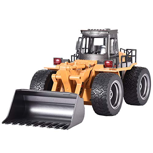 Fine 1/18 2.4G 6CH Alloy Bulldozer Truck Engineering Vehicle RC Car,6 Channel Full Functional Front Bulldozer, RC Remote Control Construction Tractor (Yellow)