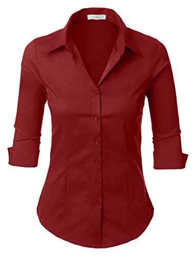 LE3NO Womens Roll Up 3/4 Sleeve Button Down Shirt with Stretch, L3NWT574_BURGUNDY, X-Large ()