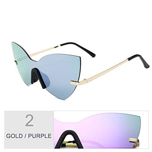 Estilo Espejo Gold Eye De Moda Mujer De Gafas Rosa Sol Oro De Gafas Mujer Purple TIANLIANG04 Sol Cat Bastidor zwq6AqTP