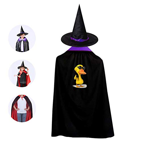 SeVam 3D Yellow Lucky Duck Quacker Kids Cloak Suit Halloween Vampire Cowl Magic Costume Cosplay Cape + Mage Hat Boys Girls Purple