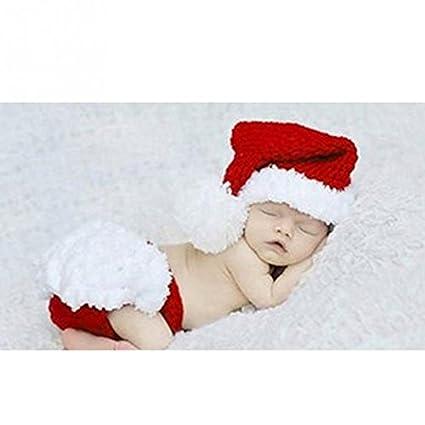 Bei Wang bebé recién nacido Foto Atrezzo Niño de Navidad de Santa ganchillo ganchillo hecho punto Prop Disfraz Sombrero pañal pantalones Set