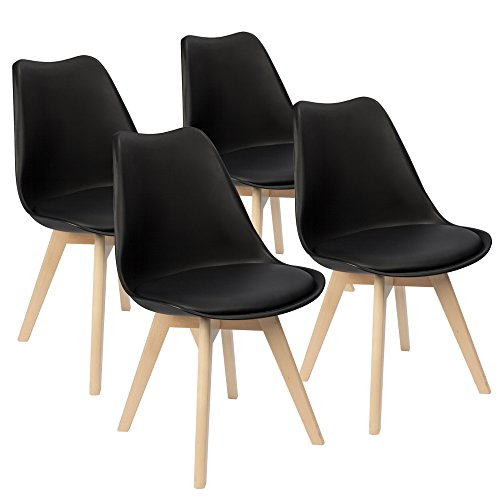 - Furmax Mid Century Modern DSW Dining Chair Upholstered Side Chair with Beech Wood Legs and Soft Padded Shell Tulip Chair for Dining Room Living Room Bedroom Kitchen Set of 4 (Black)