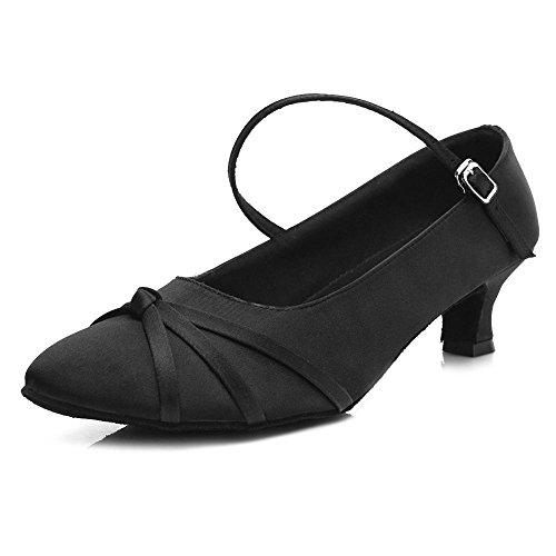 YFF Les chaussures de danse tango de bal moderne 5cm et 7cm talon Black 5cm
