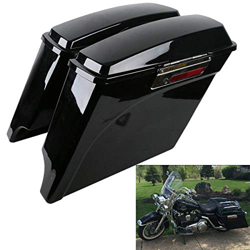 XFMT 5 Inch Stretched Extended Saddlebags Vivid Black Saddlebag with Lid Latch Keys Compatible with Harley Touring FLH FLT Electra Glide Road king Ultra Street 1994-2013