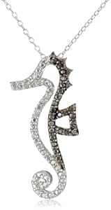 Sterling Silver Black-Diamond Seahorse Pendant Necklace