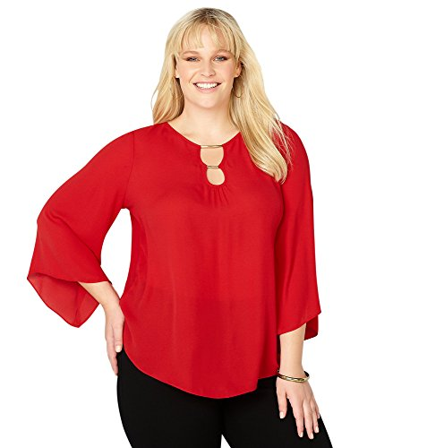 Avenue Women's Double Keyhole Bell Sleeve Top, 30/32 Red