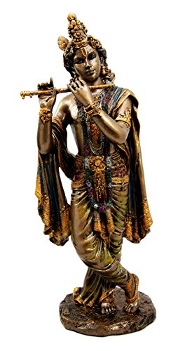 Hindu God Of Perfect Love Sex and Yoga Krishna Avatar of Vishnu Playing Flute Decorative Figurine
