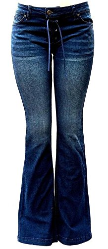 Flare Jean Star - Wax Jean Womens Juniors 70s Trendy Slim Fit Flared Bell Bottom Denim Jeans Pants (Dark Blue Wash, 1)