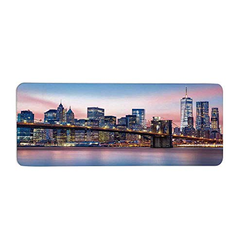 TecBillion New York Fashionable Long Door Mat,Brooklyn Bridge and Lower Manhattan Skyline Under Pink Sunrise Long Exposure Art Image for Home Office,23.6
