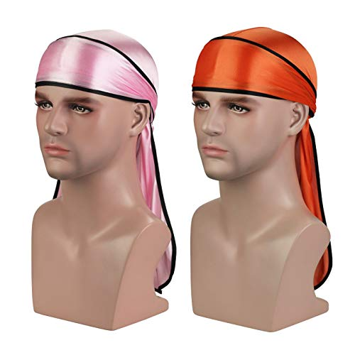Silky Durag Headwraps (2PCS) with Extra Long Tail and Wide Straps for 360 Waves by ASHILISIA