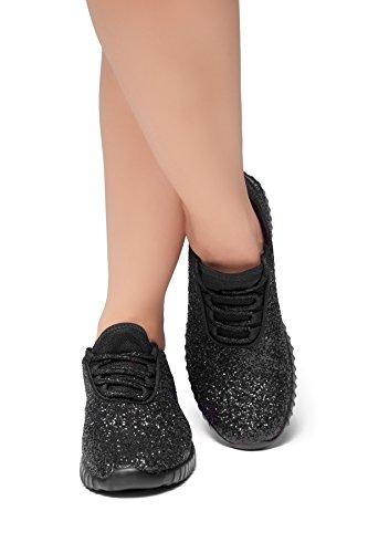 Herstyle Frauen Moniqie Glitter flache Ferse, Glitzer Details, vorne schnüren sich oben, Mode Sneaker Schwarz