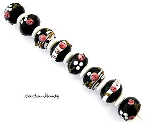 8 Assorted Black White Pink Lampwork Bumpy Flower Smooth Rondelle Glass Beads