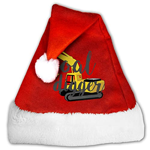 WAN1W0 Digger Excavator Clipart Christmas Hat, Red&White Xmas Santa Claus' Cap for Holiday Party Hat ()
