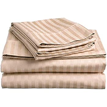 Lux Decor Collection Bed Sheet Set - Brushed Microfiber 1800 Bedding - Wrinkle, Stain and Fade Resistant - Hypoallergenic - 4 Piece (Queen, Striped Taupe)