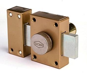 Ucem - Cerradura de sobreponer hierro esmaltado barnizado serie 4101 hb4101: Amazon.es: Bricolaje y herramientas