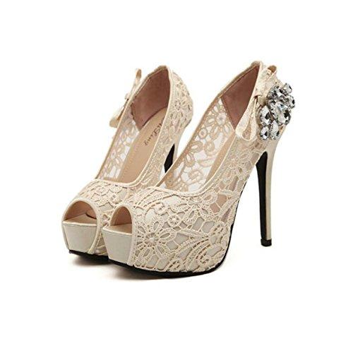 GRRONG Zapatos De La Mujer Boca De Los Pescados De Perforación Finos Tacones Altos Con El Código De La Boca Baja apricot
