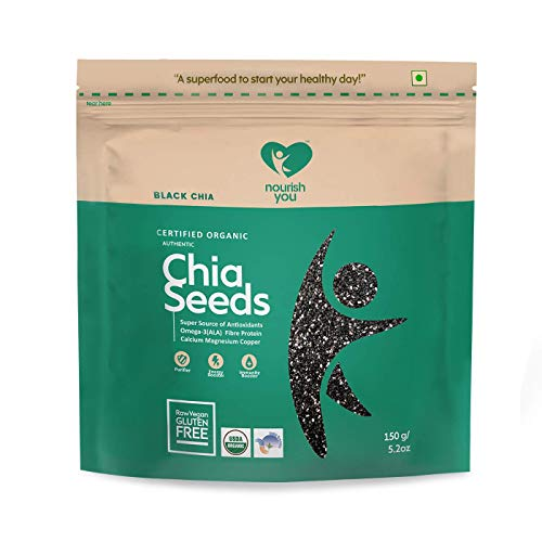 Nourish You Organic Black Chia Seeds, 150Gm  Single Pack