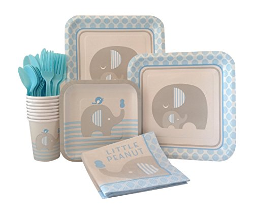 Blue Elephant Boy Baby Shower Supply Pack! Bundle Includes Paper Plates, Napkins, Cups & Silverware for 8 Guests -