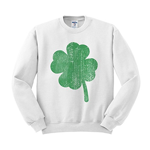 Vintage Shamrock St Patricks Day Sweatshirt Unisex Large White