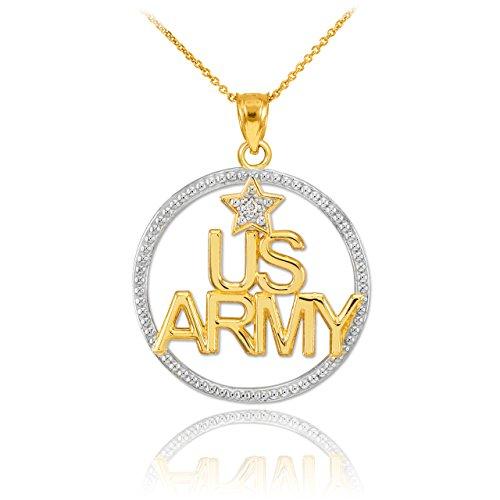10 ct 471/1000 Deux Ton Or 'US ARMY' Diamant-Pendentif Collier
