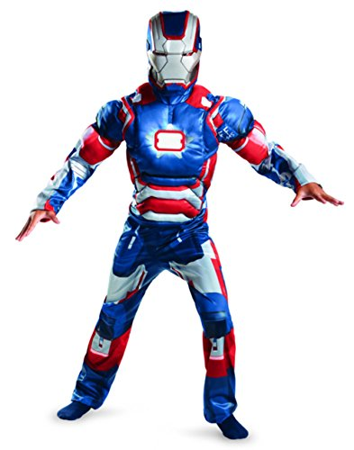 Child Muscle Iron Patriot Costumes (Disguise Marvel Iron Man Movie 3 Iron Patriot Boys Muscle Light Up Costume, 10-12)