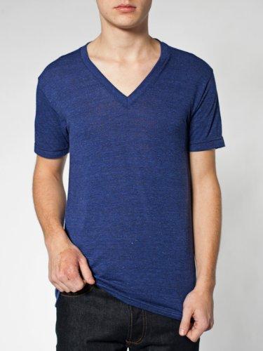 American Apparel  Unisex Tri-Blend Short Sleeve V-Neck, Tri/Black, Large