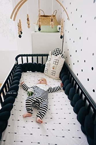 Juju & Jake - Full Crib - Braided Crib Bumper/Bed Bolster - Nursery Decor - Crib Bumper - Baby Shower Gift - Crib Bedding (Black)
