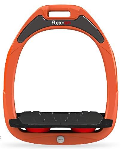 【 限定】フレクソン(Flex-On) 鐙 ガンマセーフオン GAMME SAFE-ON Mixed ultra-grip フレームカラー: オレンジ フットベッドカラー: ブラック エラストマー: レッド 09150   B07KMRQL76