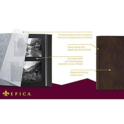 EPICA Photo Album & Scrapbook - Handcrafted with Exquisite Italian Leather - 100 Acid-Free Archival Quality Pages (Lg & XL - 2 Sizes and Page Color Choices)