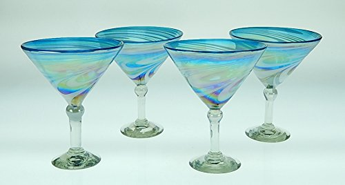 Mexican Glass Martini Blue White Swirl 15 Oz (4) (Glass Martini Blue)