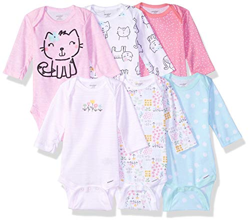 Onesies Brand Baby Girls' 6-Pack Long-Sleeve Bodysuit, Cats, 6-9 Months