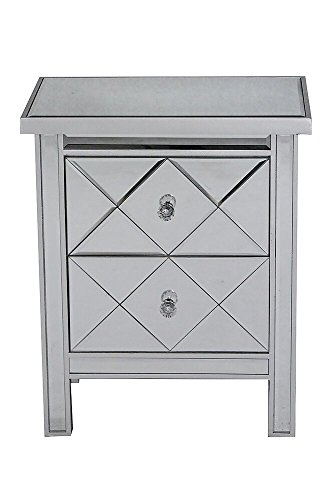 Heather Ann Creations The Emmy Collection Modern Style Mirrored Tall 2 Drawer Bedroom Accent Storage Chest Cabinet, Silver